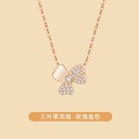 三叶草项链女纯银锁骨链冷淡风小众简约设计感生日礼物