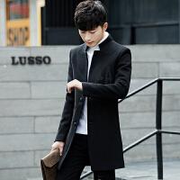 男士中长款风衣男秋冬季韩版潮流学生百搭毛呢子大衣男装帅气外套 黑色 M