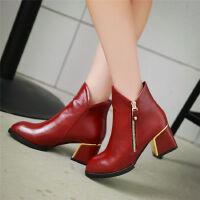 O'SHELL欧希尔新品136-Q40欧美粗跟中跟女士短靴
