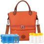 V-Coool妈咪包套装 都市双层母乳保鲜包 背奶包冰包保温包套装 橙色(含干式蓝冰2个+宽口PP储奶瓶3只)