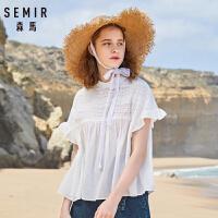 森马短袖衬衫女2019夏季新款宽松娃娃衫显瘦白色衬衣甜美少女清新