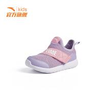安踏童鞋男童跑步鞋小童 春夏季新款网面绑带柔软舒适透气运动鞋