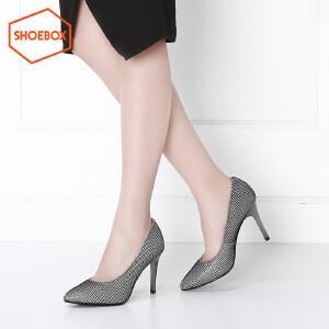 达芙妮旗下SHOEBOX/鞋柜高跟鞋 春秋新款尖头细跟单鞋通勤女鞋