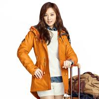 新款 户外女式冲锋衣女 三合一加厚保暖外套登山服 浅橙色 165/M