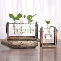 客厅办公室桌面装饰摆件创意木架水培容器绿萝植物玻璃花器小花瓶