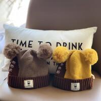 女宝宝帽子冬天毛线帽婴儿可爱幼儿秋冬洋气