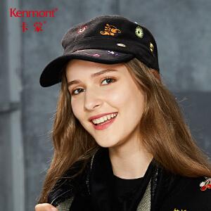 卡蒙鸭舌帽子女士秋冬天休闲百搭黑色平顶军帽花朵刺绣羊毛呢帽2648
