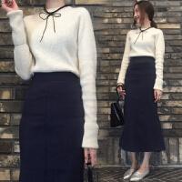 针织裙子包臀裙套装女2017秋季新款两件套修身秋半身裙中长款时尚