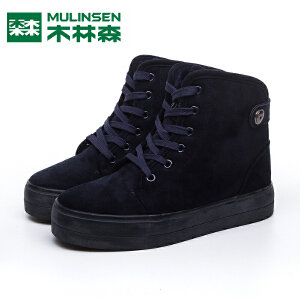 木林森女鞋冬季雪地靴短筒加厚加绒韩版松糕鞋学生鞋防水系带棉鞋