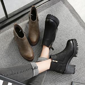 毅雅2017冬季新款时尚马丁靴防水台粗跟高跟英伦风百搭女士侧拉链短靴