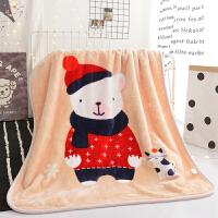 儿童毛毯加厚冬季珊瑚绒毯子新生婴儿宝宝午睡盖毯保暖床单薄被子J 110*140cm(双层加厚 约2.2斤)