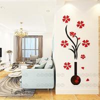 立体墙贴花瓶装饰新房间客厅卧室沙发床头电视背景墙上装饰字画 款一 红色 超