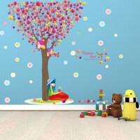 抽象可移除卧室客厅沙发玄关墙贴纸七彩树气球泡泡蝴蝶小鸟贴画