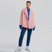 2018秋季新款秋冬款茧型双排扣羊毛绒短款呢子外套大衣女