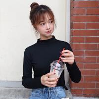 春装新款女装韩版百搭纯色半高领长袖修身短款T恤打底衫上衣学生