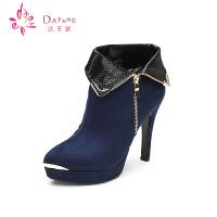 Daphne/达芙妮女靴 冬季金属装饰防水台高跟时尚女短靴