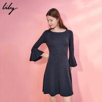 Lily新款女装收腰纯色喇叭连衣裙117420B7316