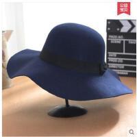 韩版潮复古英伦大檐帽波浪边子女礼帽女毛呢帽圆顶黑色帽  可礼品卡支付
