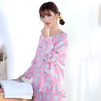 韩版长袖可爱女士纯棉绸绵绸家居服春秋季人造棉布睡衣薄款套装