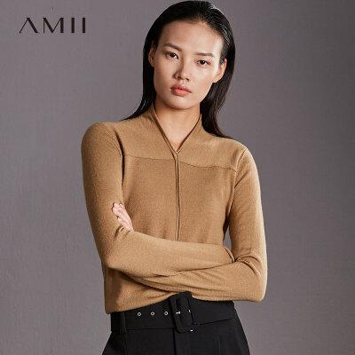 【到手价160元】Amii极简休闲100%羊毛上衣女薄款2018冬卷边V领套头纯色长袖毛衣.