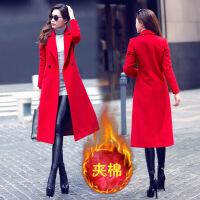 韩观新款韩版毛呢风衣外套女中长款过膝修身收腰双面呢子大衣秋冬女装 红色 夹棉版