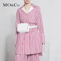 MOCO春季新品条纹衬衫可调节腰带连衣裙MA181DRS129 摩安珂