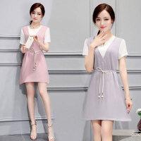 2018春夏装新款韩版大码女装夏季中裙子假两件套连衣裙 664