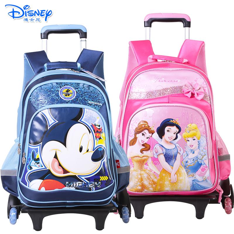 迪士尼(Disney)米奇公主儿童拉杆书包小学生男女童1-6年级卡通三轮拉杆书包有买就有送 送笔袋
