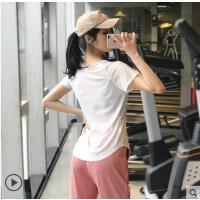 运动上衣显瘦跑步健身t恤女宽松透气性感薄款速干短袖瑜伽服