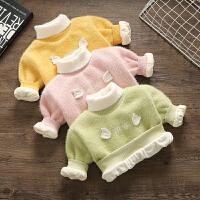 婴儿童女童半高领洋气女宝宝小童秋冬加绒套头毛衣