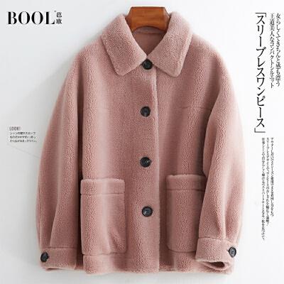 芭欧2019新款海宁颗粒羊羔毛皮草外套女时尚单排扣反季羊剪绒大衣