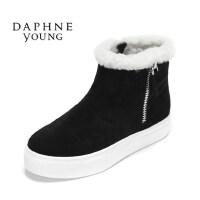 Daphne/达芙妮平底短靴 休闲舒适毛绒雪地靴