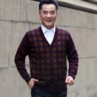 正品中老年男士秋装纯羊毛衫开衫毛衣男中年V领针织衫爸爸装外套