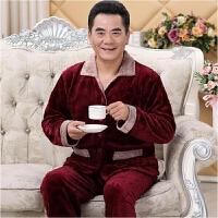 冬季男士睡衣加厚长袖珊瑚绒夹棉睡衣男法兰绒三层棉袄家居服套装