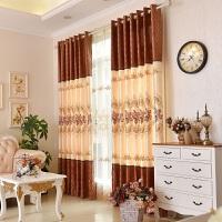 绣花欧式窗帘成品遮光窗帘布简约现代客厅卧室飘窗落地窗平面窗纱