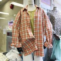 韩国ulzzang2018春装新款宽松BF风格子长袖衬衫女中长款百搭衬衣