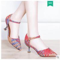 莱卡金顿新款尖头马蹄跟女单鞋百搭休闲一字口带高跟鞋拼色女鞋6408