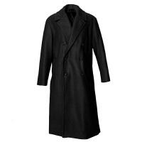 冬季新款毛呢大衣男长款过膝韩版宽松羊绒大衣男双排扣潮流男大衣 黑色 小码(100-130斤)