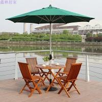 户外桌椅折叠实木桌椅五件套组合庭院阳台休闲家具伞套装 无扶手折叠椅4 圆桌 铝香蕉伞