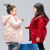 【大牌清仓 5折起】amii女童洋气冬装外套秋2017新款儿童韩国版时尚公主中长款羽绒