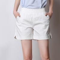 夏季新款棉麻短裤女休闲大码糖果色亚麻短裤薄款宽松女裤