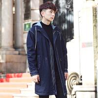 新款韩版男士中长款风衣连帽宽松外套学生帅气军大衣潮流披风