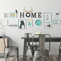 北欧风照片墙客厅餐厅装饰墙上创意个性组合相框墙小清新照片墙 白淡蓝 北欧风
