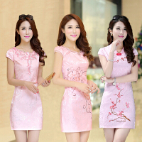 新款日常短款旗袍连衣裙中裙夏收腰显瘦一步裙修身礼服包臀裙