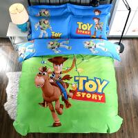 儿童卡通小黄人全棉四件套被套床单四件套床上用品3件套 绿色 牛仔胡迪