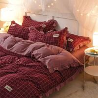 网红床单四件套1.8m床水洗棉双人全棉床上格子被套公主风
