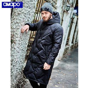【限时抢购到手价:379元】AMAPO潮牌大码男装胖子加肥加大码保暖加厚羽绒服肥佬外套嘻哈男