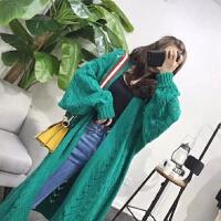 长款毛衣女2018新款过膝中长款镂空针织开衫纯色蝙蝠袖宽松外套潮
