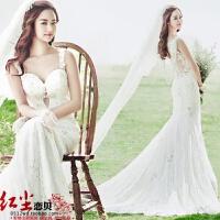 新款影楼摄影主题服装韩版情侣写真婚纱鱼尾白色露背礼服送长头纱 白色 影楼均码