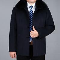 中老年男装冬季加绒加厚羊毛呢夹克爸爸装翻领宽松大码毛呢外套男